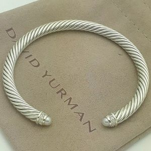 Like NEW David Yurman Cable Bracelet Pearl Diamond